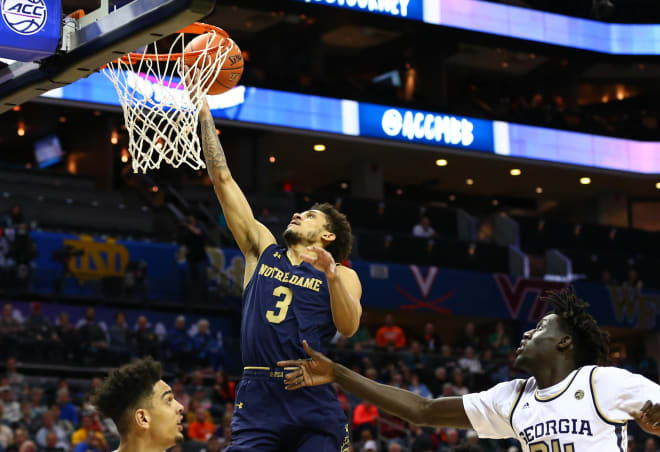 Notre Dame point guard Prentiss Hubb, who scored a career-high 22 points Wednesday against North Carolina, returns to action Saturday at hone vs. Robert Morris.