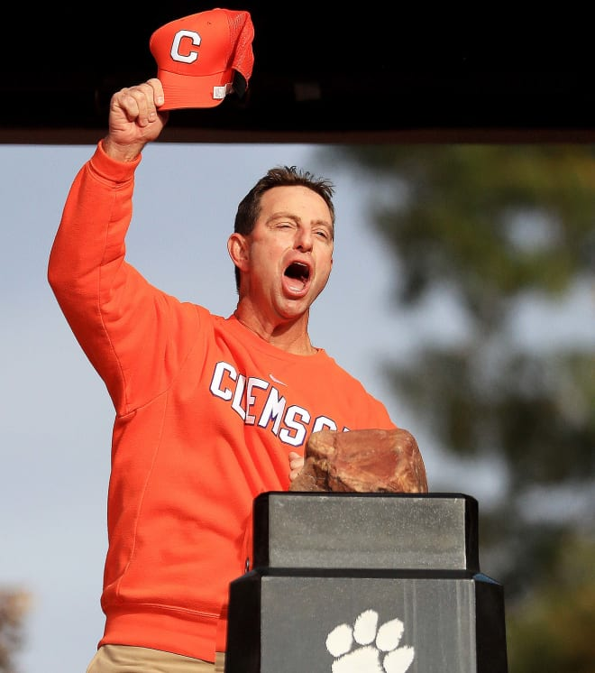 Clemson head coach Dabo Swinney is shown atop The Hill in Death Valley last Saturday prior to kickoff between the Tigers and Wake Forest.