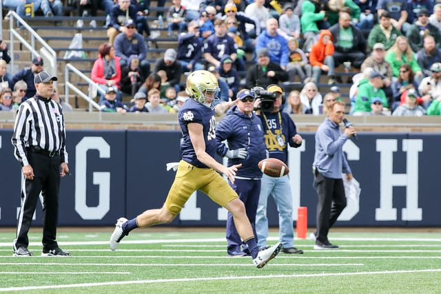 Freshman Jay Bramblett averaged 34.9 yards on his eight punts in the Blue-Gold Game.