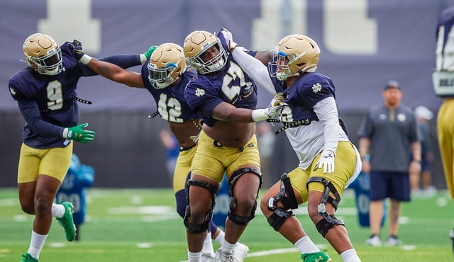 Notre Dame defensive linemen work on their techniques during Wednesday's practice.