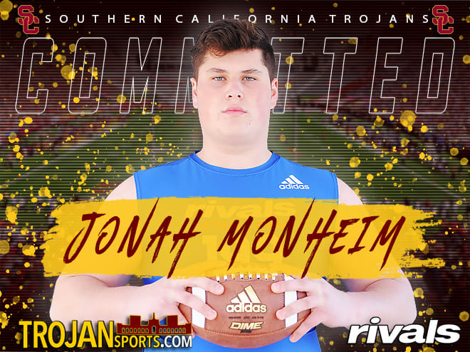 Four-star Moorpark HS offensive lineman Jonah Monheim committed to USC on Saturday.