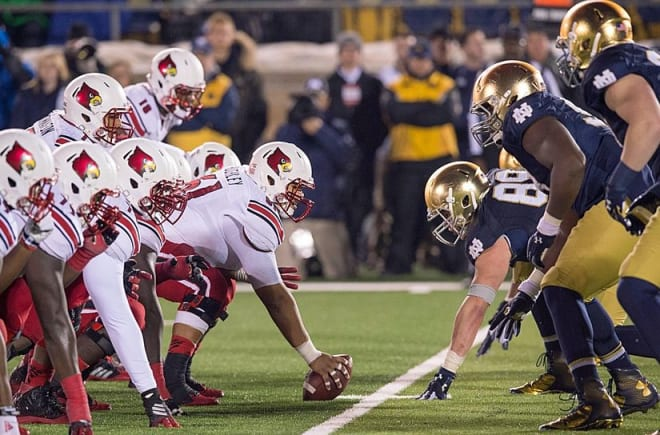 Louisville, where Notre Dame opens this season on Labor Day night, won the lone previous meeting between the two schools in 2014, 31-28.