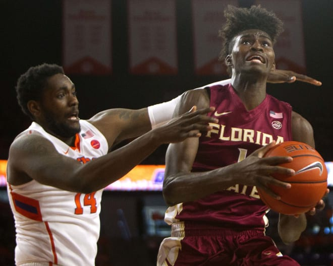 FSU's Jonathan Isaac looks to score inside Saturday at Clemson.