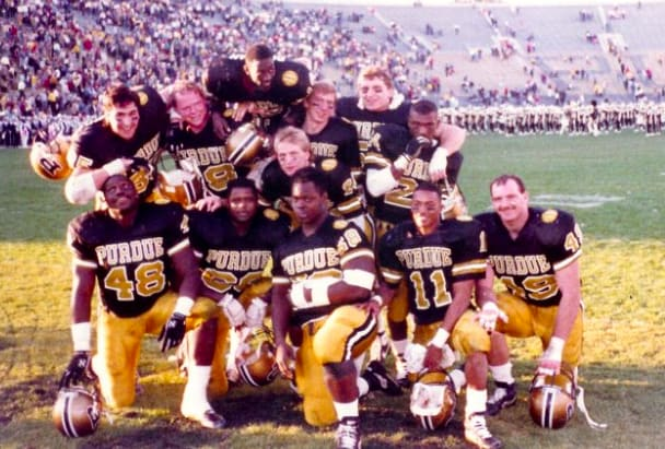 Tony Visco (far right) poses with fellow seniors in 1987. He finished his career in West Lafayette with 351 tackles, which still ranks No. 10 in Purdue annals.