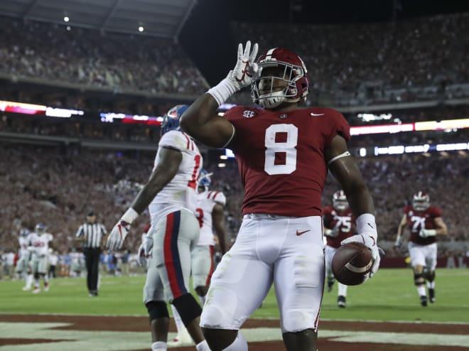 Alabama running back Josh Jacobs celebrates after scoring a touchdown against Ole Miss. Photo | Alabama Athletics