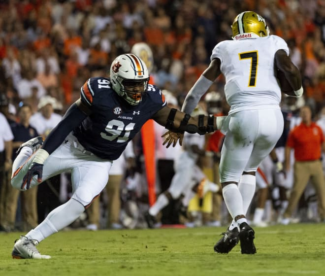 Nick Coe (91), Auburn's sack leader in 2018, is doubtful to play in the Music City Bowl vs. Purdue.