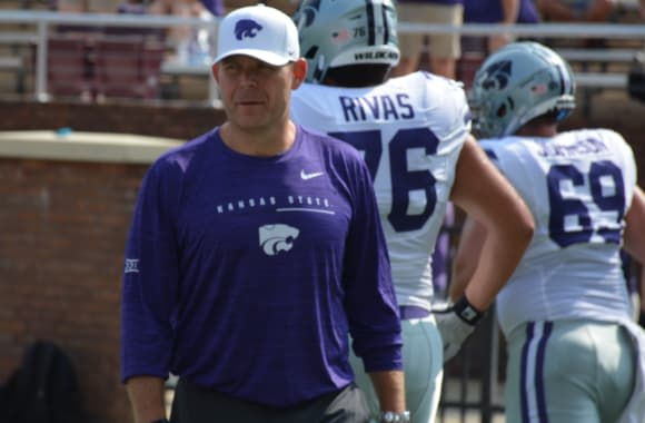 Kansas State offensive line coach Conor Riley
