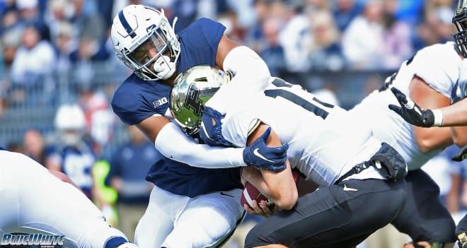 Shaka Toney sacks Purdue quarterback Jack Plummer