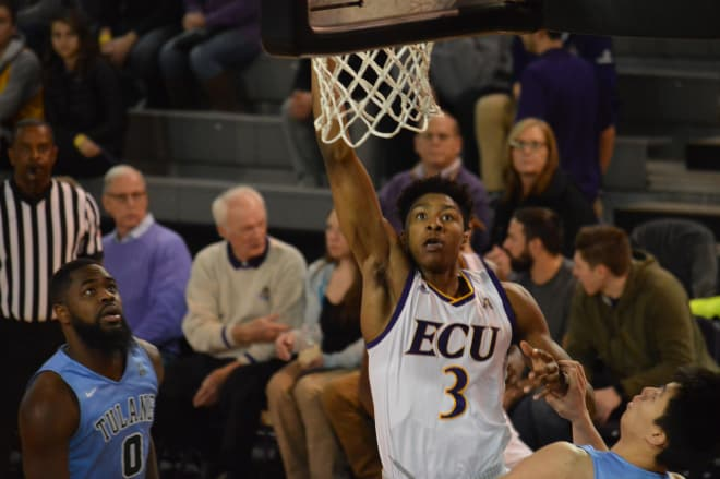 Seth LeDay scores two of his 13 points in ECU's 66-65 win over Tulane