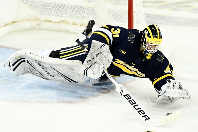 Sophomore goalie Strauss Mann led the way in a pair of weekend wins, 4-0 and 4-3, over Lake Superior State.