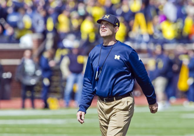 Michigan head coach Jim Harbaugh will check in on top recruits this week.