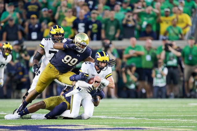 Notre Dame defeated Michigan in last year's opener, 24-17, while improving to 6-0 in home games at night versus the Wolverines.