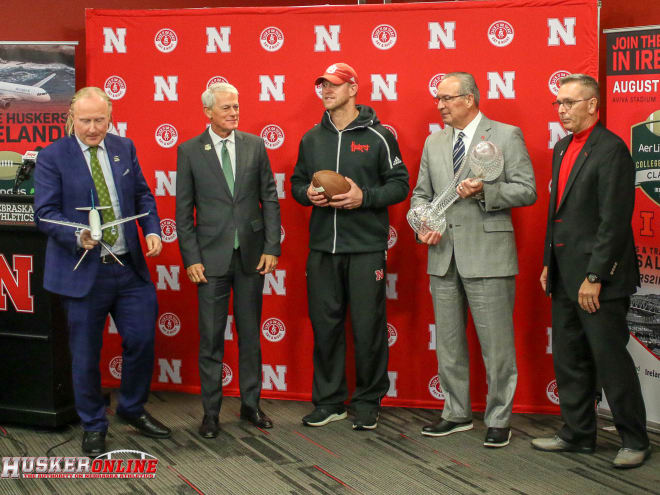 From left: Padriac O'Kane of Irish American Events; Anthony Travel CEO John Anthony; Frost; Moos; UNL Chancellor Ronnie Green.