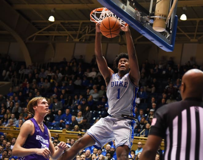 Vernon Carey finished with 17 points and 10 rebounds in Duke's win over Central Arkansas.