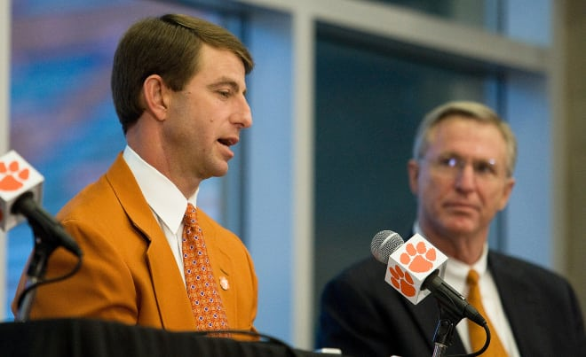 Swinney is shown here at his 2008 news conference with then athletics director Terry Don Phillips.