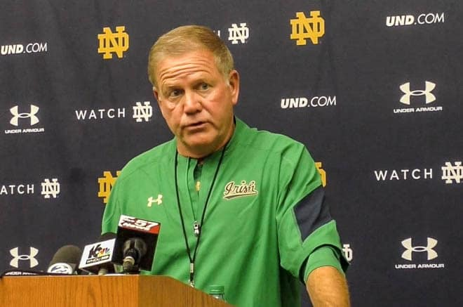 Notre Dame football head coach Brian Kelly at a press conference