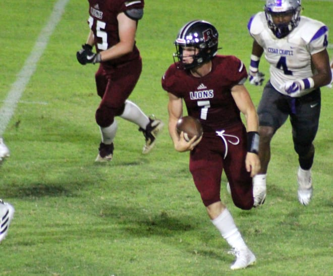 Red Mountain QB Hyrum Boren takes off on a run during a home game from last August.  The Mountain Lions (12-1) have just one blemish, a quadruple-overtime loss to Perry.
