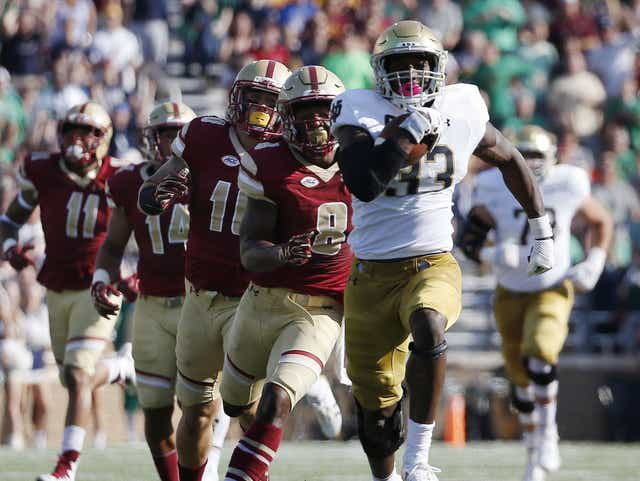 Josh Adams and the Irish offense romped for 515 yards rushing in the last meeting with Boston College, a 49-20 win in 2017.