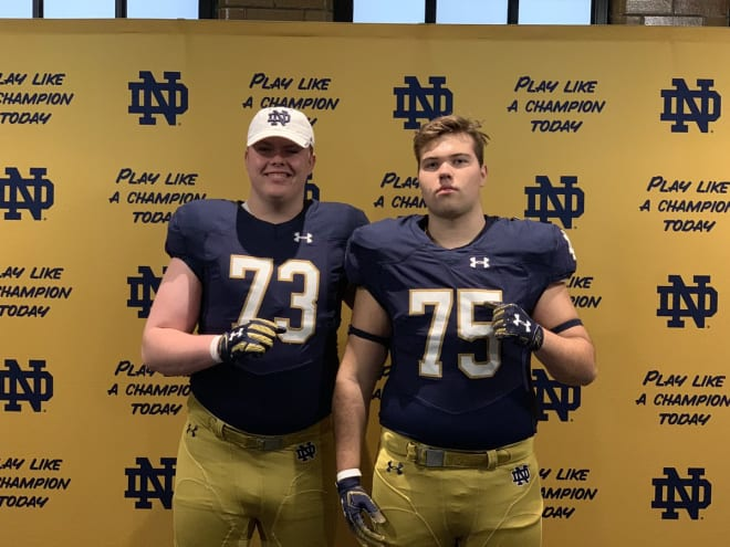 2021 OL Harisen Miller (75) got his first look at Notre Dame this weekend