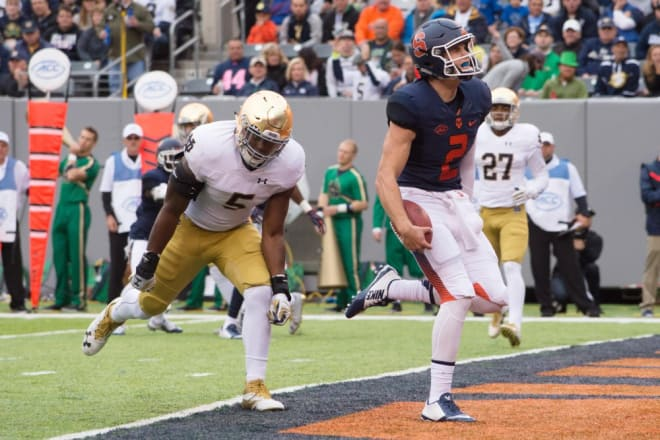 Quarterback Eric Dungey accounted for 412 yards of total offense himself in the 50-33 loss to Notre Dame in 2016.