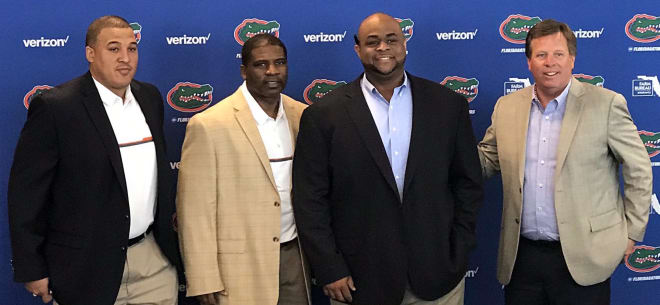 (From left to right): Ja'Juan Seider, Corey Bell, Brad Davis and Jim McElwain