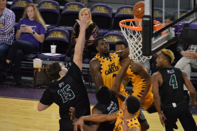 ECU's Caleb White fires in two of his game high 22 points in a 73-50 win over Stetson on Sunday.