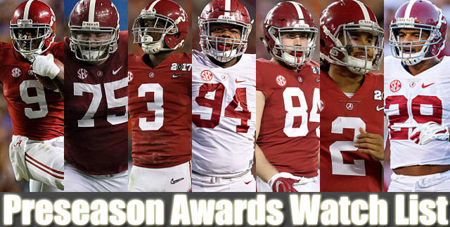 Seven players from Alabama have been nominated for preseason awards going into 2017
