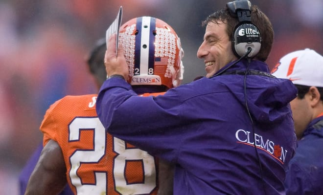 Dabo Swinney, then a wide receivers coach, was C.J. Spiller's recruiter of record for Clemson.