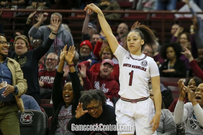 Bianca Cuevas-Moore follows through on a three-pointer Monday night vs. Vanderbilt.