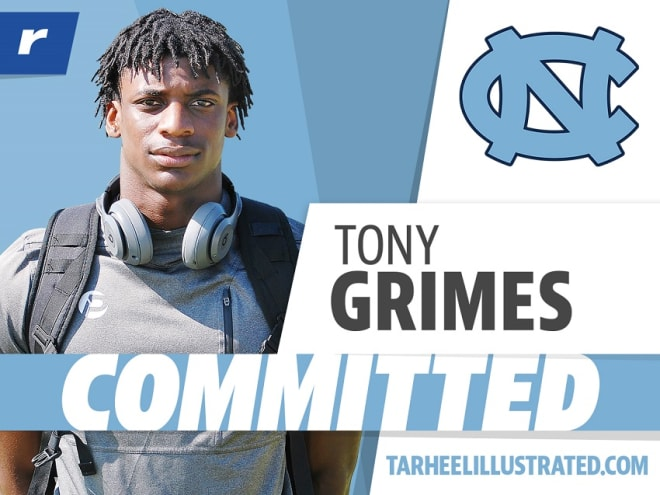 Tony Grimes, the top-rated cornerback in the nation, has become the 17th member of UNC's class of 2021.