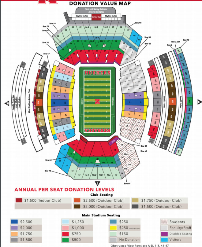 Here is a breakdown of the 2018 donations required for seats in Memorial Stadium before the $399 cost per ticket is factored in.