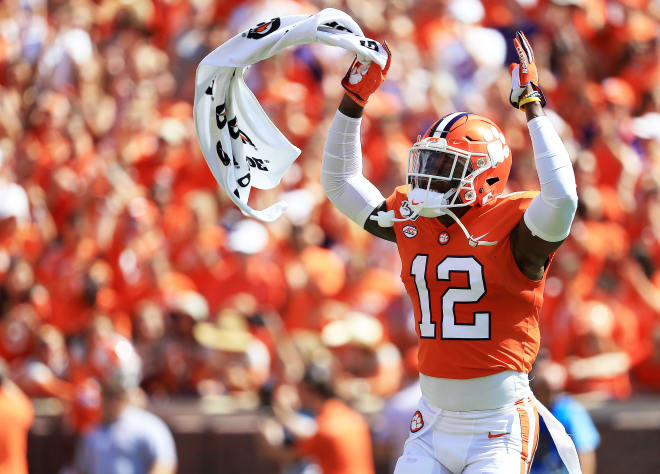 A happy K'Von Wallace is shown here celebrating another big play by Clemson's defense Saturday in Death Valley.