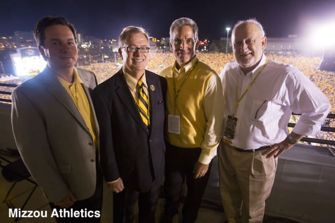 Owens, Deaton, Alden and Hoskins on the press box during Mizzou's SEC opener against Georgia, the same location at which they'd met and decided to leave the Big 12.