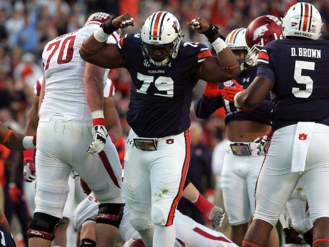 Williams (79) teamed up with former Auburn DT Dontavius Russell this summer in Jacksonville.