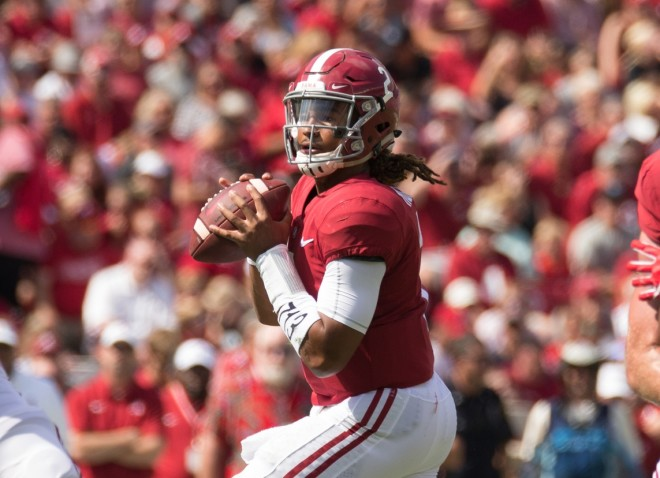 Jalen Hurts leads No. 1 Alabama past Fresno State, 41-10