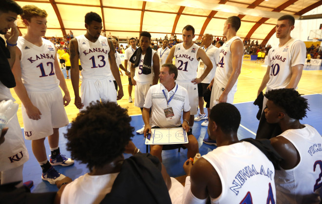 KU Men's Basketball Wins Exhibition Opener in Italy