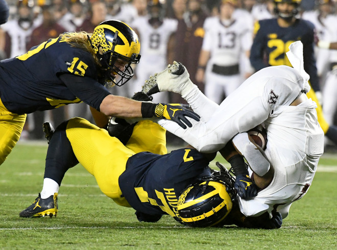 Karan Higdon pulled, others injured in Michigan's win at Maryland