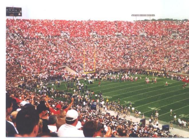 An estimated 25,000 Nebraska fans filled Notre Dame Stadium in September of 2000 to watch Nebraska defeat the Fighting Irish in overtime.