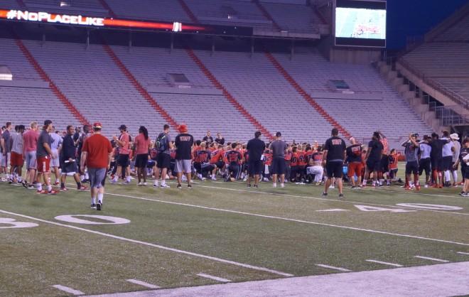 Nebraska held the first of three Friday Night Lights camps inside Memorial Stadium on Friday night.