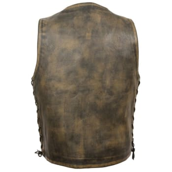 1981226da780 Milwaukee Leather Men s Brown Distressed Motorcycle Vest w  Snap Front  MLM3540
