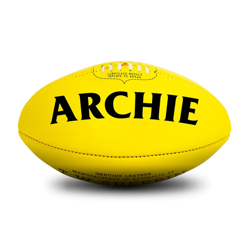 Personalised Sherrin KB Veg Tan Yellow - Size 5