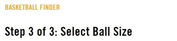 Select ball size