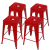 OPEN BOX Homegear 4 Pack Stackable Metal Kitchen Stools - Red