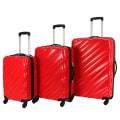 Swiss Case 4 Wheel Wave 3Pc Suitcase Set - Red