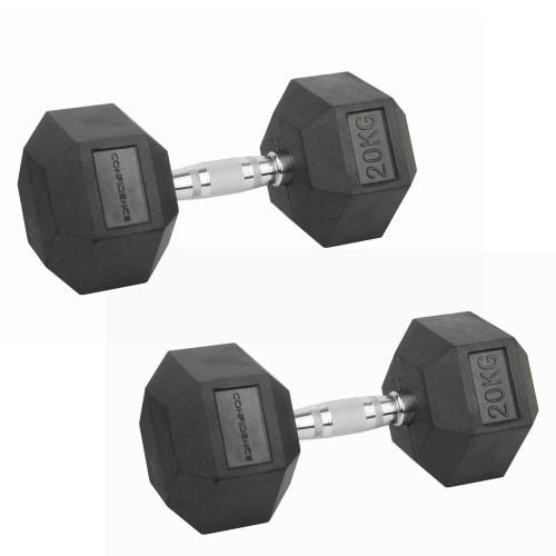 Confidence Fitness 20kg Rubber Hex Dumbbell Set