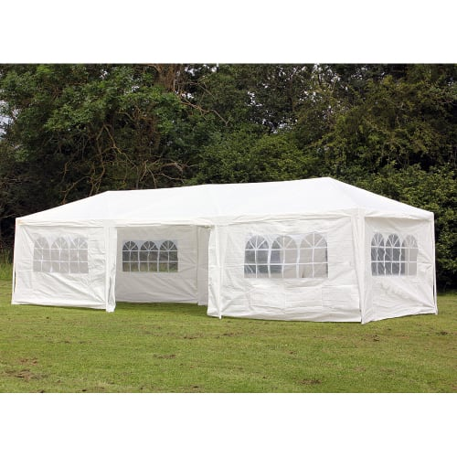 Palm Springs 10' x 30'  White Party Tent with 8 Sidewalls