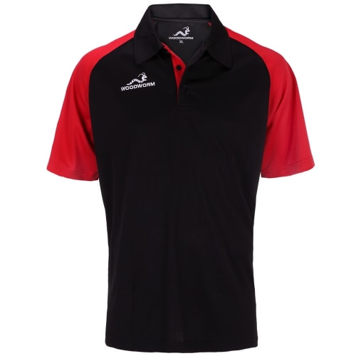Woodworm Pro Cricket Short Sleeve Shirt Red / Black