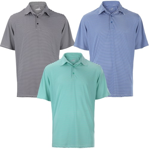 Woodworm Tournament Stripe Golf Polo Shirts 3 Pack