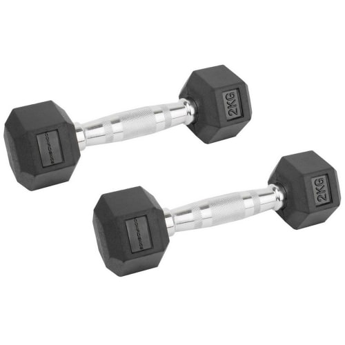 Confidence Fitness 2kg Rubber Hex Dumbbell Set