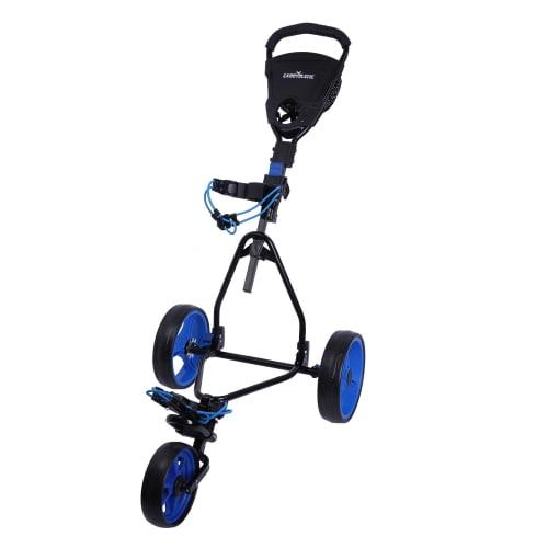 Caddymatic Junior Golf Trolley - 3 Wheel Folding Trolley for Kids- Black/Blue